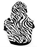 SELMAI Zebra Print Hoodie Shirt for Small Dog Cat Puppy Black White XS
