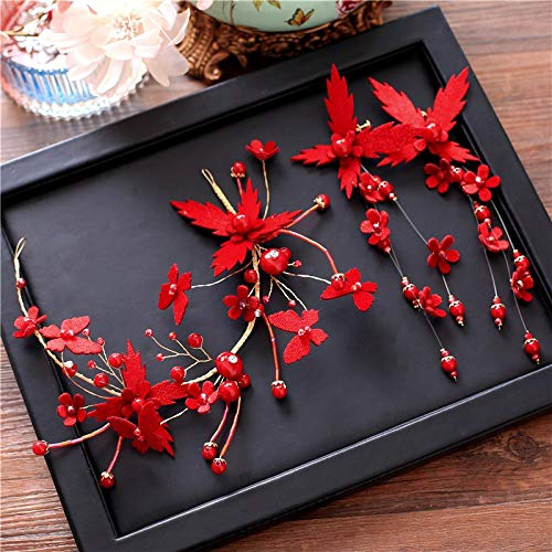 - Red Dress Handmade Jewelry Accessories Headdress Korean Super Sweet Fairy Tale Bride Bridesmaid Wedding Party Bridesmaid Flower Earrings Set