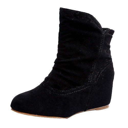 Rawdah Botas Mujer Invierno Botas De Mujer Zapatos Mujer Plataforma Las Mujeres Aumentan Dentro de los Botines Botines de cuña Botas Casuales Botines con ...