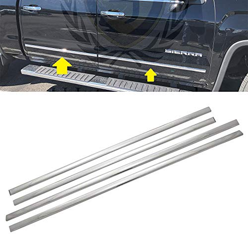 LJ International Quality Accessories Triple Chrome Plated Side Molding Belt Trims for Chevrolet Silverado+GMC Sierra