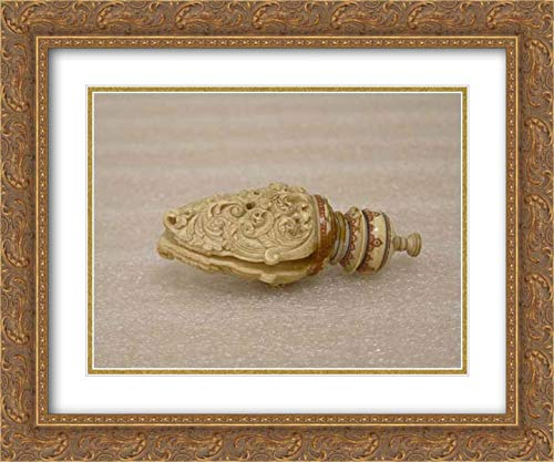 Sri Lanka (Kandy District) Culture - 24x20 Gold Ornate Frame and Double Matted Museum Art Print - Fan Handle and Finial