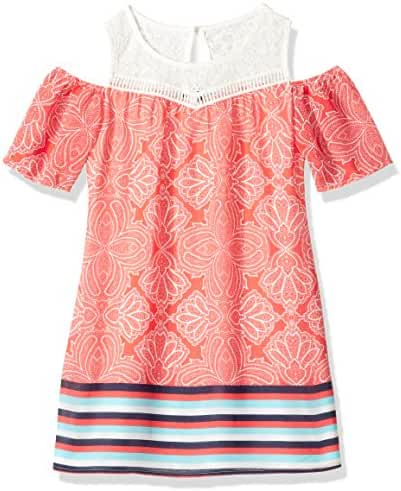 My Michelle Big Girls' Multi Print Cold Shoulder Dress with Crochet Yoke