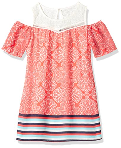 My Michelle Girls' Big Cold Shoulder Dress with Crochet Yoke, Coral, 12 (Michelle My Clothes)