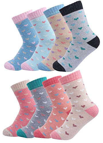 Luxina 8 Pairs Thick Wool Knitting Autumn Winter Socks for Women Heart Patterned