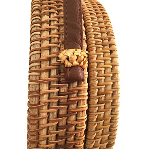 Bolso de de Crossbody para Domybest Verano 4 Type Paja Crossbody Bolsa Retro playa Redondo mimbre de Paja de 7wqxtIH