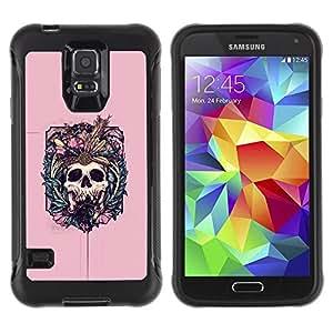 LASTONE PHONE CASE / Suave Silicona Caso Carcasa de Caucho Funda para Samsung Galaxy S5 SM-G900 / Pink Skull Fangs Death Bones Floral