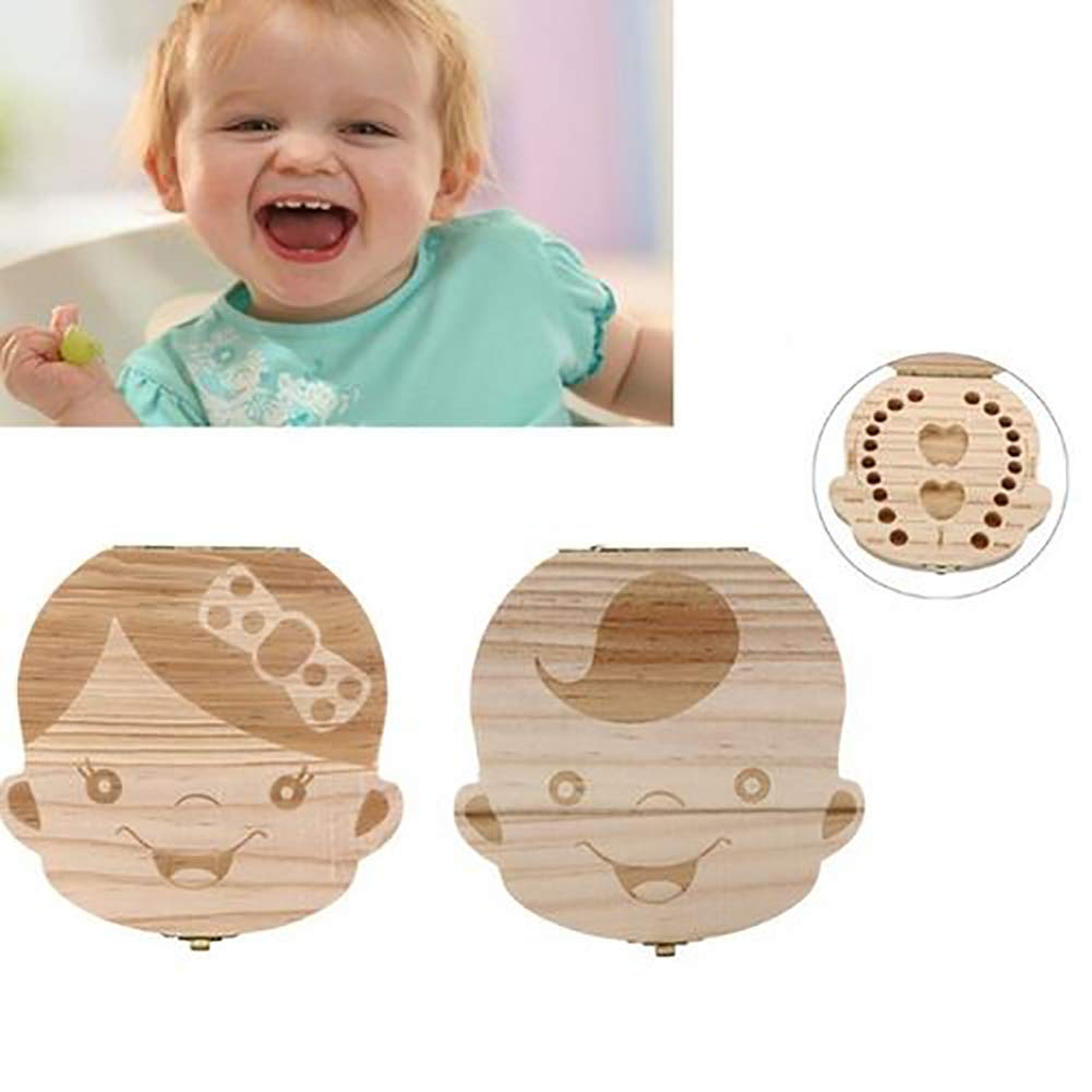 Flyes Baby Teeth Save Box Organizer Teeth Keepsake Box Wooden Deciduous Tooth Collection Storage Souvenir Box Case for Kids