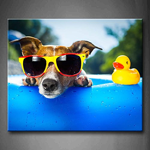 First Wall Art - Blue Beach Dog With Sunglasses Side Duck Toy Wall Art Painting Pictures Print On Canvas Animal The Picture For Home Modern Decoration (Stretched By Wooden Frame,Ready - With Dogs Sunglasses Pictures