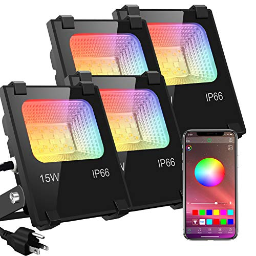 LED Flood Lights RGB Color Changing 100W Equivalent Outdoor, 15W Bluetooth Smart RGB Floodlight APP Control, IP66 Waterproof, Timing, 2700K&16 Million Colors 20 Modes for Garden Stage Lighting 4 Pack