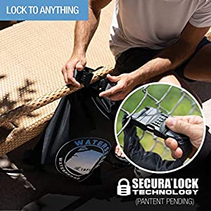 WaterSeals Locking Backpack + Waterproof Bag for Women & Men with Ripstop Material & Anti-Theft Combination Lock to Protect Wallet, iPhone or Valuables at the Beach, Pool, Skiing, or Camping, Gray