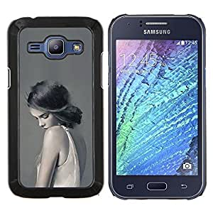 KLONGSHOP // Cubierta de piel con cierre a presión Shell trasero duro de goma Protección Caso - Mujer Señora triste Femenino Gris Profundo - Samsung Galaxy J1 J100 //