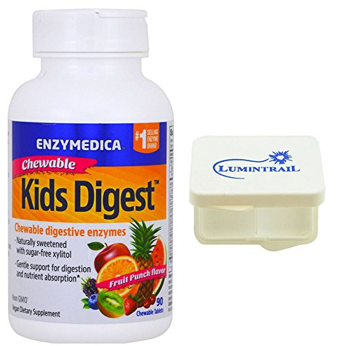Enzymedica Kids Digest Chewables Capsules, 90 Count and Includes a Lumintrail Pill Case