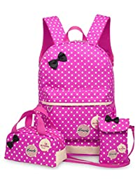 Greeniris Kids Cute Waterproof Nylon School Backpack for Teenage Girls 3pcs
