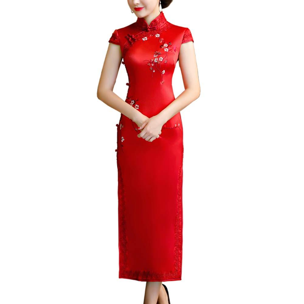 Tyjtyrjty Women Sexy Cheongsam, Retro Embroidery Dress Slim Women Sleeveless Cheongsam (Red, Medium)
