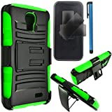 LG L31G / LG Access LTE Case Combo by ICE-CLEAR(TM)-HERCULES Dual- Layer Hard/Gel Hybrid Kickstand Armor Case w/ Holster (Black/Green)+Touch Screen Stylus
