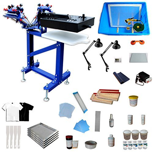 Fine Tuning Rotating 3 Color 1 Station Floor Type Screen Printing Kit Screen Printing Machine with Flash Dryer Water Based Ink UV Exposure Unit Included by Screen Printing Kit