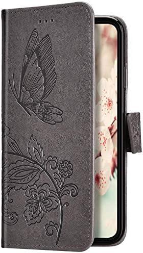 Uposao Kompatibel mit iPhone XR Hülle Schutzhülle Lederhülle 3D Schmetterling Blumen Muster Handyhülle Leder Tasche Brieftasche Klapphülle Flip Case Magnet Kartenfächer,Grau