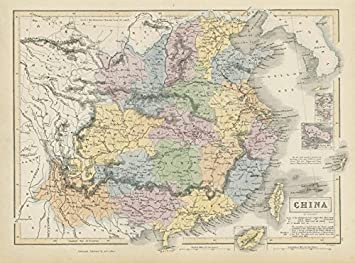 Chinesische Mauer Karte.Antiqua Print Gallery China Zeigen Provinzen Mauer 1842 Vertrag