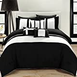 Chic Home 10-Piece Fiesta Bed-in-a-Bag Comforter Set, Queen, Black