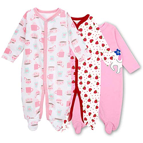 Hisharry Baby Footed Pajamas Sleeper for Girls - 3 Packs Infant Cotton Long Sleeve Jumpsuit Newborn Romper Bodysuit 3-6M