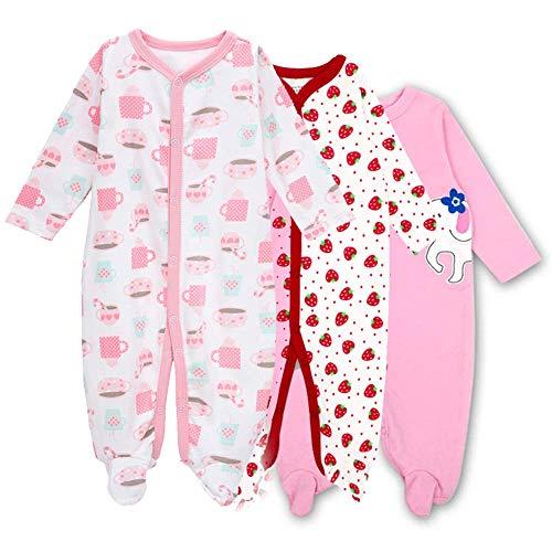 - Hisharry Baby Footed Pajamas Sleeper for Girls - 3 Packs Infant Cotton Long Sleeve Jumpsuit Newborn Romper Bodysuit 6-9M