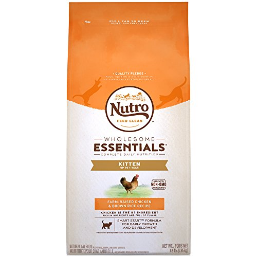 NUTRO WHOLESOME ESSENTIALS Kitten, Farm-Raised Chicken and Brown Rice Recipe Dry Cat Food, 6.5 lbs. Rich in Nutrients and Full of Flavor; Supports Healthy Growth & Development & Healthy Skin and Coat