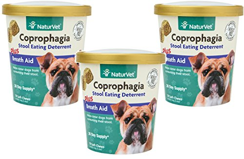 210-Count NaturVet Coprophagia Stool Eating Deterrent Plus Breath Aid Soft Chews for Dogs, (3 Packages with 70 Chews Each) (Best Way To Stop Dog From Eating Poop)
