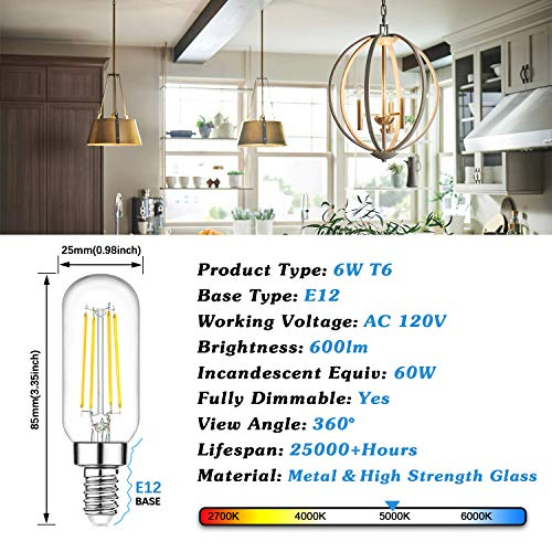 Dimmable T6 LED Bulbs 60W Equivalent Incandescent Candelabra, 6W 600lm E12 Edison Light Bulb, 5000K Daylight White, Clear Tubular Bulb, Small Filament Bulb for Chandelier Ceiling Light, 12-Pack