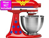 Deluxe Wonder Woman stickers for KitchenAid stand mixers (Yellow logos w/blue stars and blue stripes) NO MIXER INCLUDED - Decals ONLY