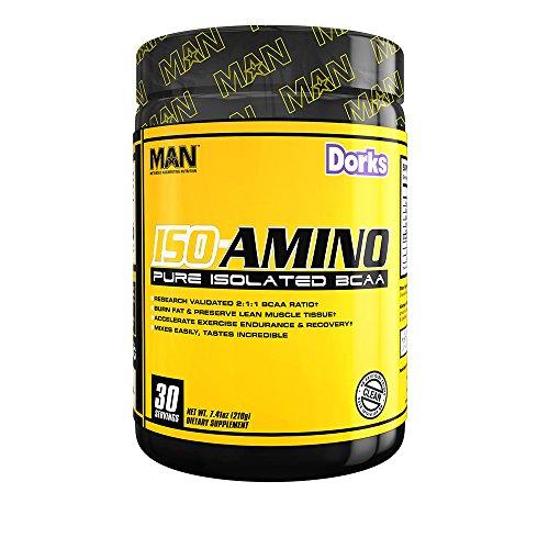 MAN Sports ISO AMINO BCAA Amino Acid Powder, Dorks, 30 Servings, 210 Grams