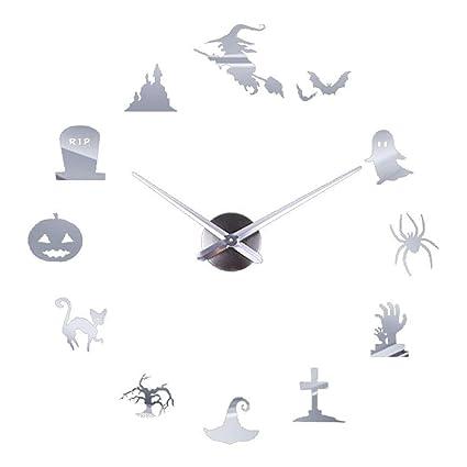 Liouhuble Creative DIY Wall Clock Mirror Wall Clock Home Halloween Decoration (Silver)