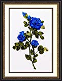 Ribbon embroidery Kit,Fanryn 3D Silk ribbon embroidery Blue Roses pattern design Cross Stitch Kit Embroidery for beginner DIY Handwork Home Decoration Wall Decor 30x40cm (No frame)