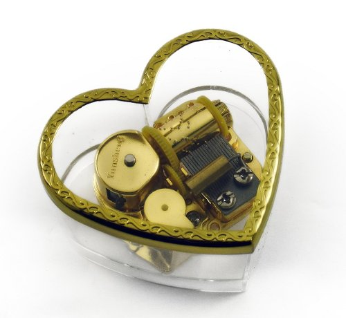 Charming Heart Shaped Acrylic Photo Musical Paper Weight - Over 400 Song Choices - Around The World in 80 Days (V Young) Swiss
