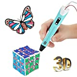 SinoPro 3D pen, 3D Printing Pen with LCD Screen, 2nd Generation 3D Drawing Pen with Temperature Display for Doodling, Art Design & Crafts Drawing and Education with 3x1.75mm Free PLA Filament (Blue)