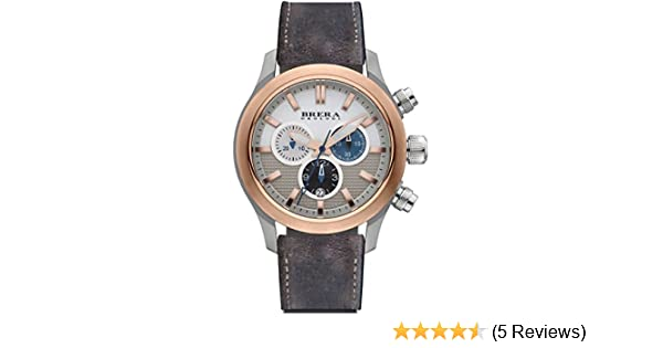 Amazon.com: Brera Orologi Eterno Chrono Rose Gold White Blue & Turquoise Brown Leather Strap 43mm BRET3C4303: Brera Orologi: Watches