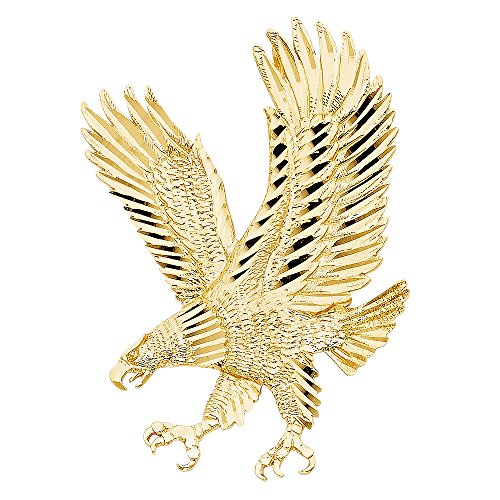Large Eagle Pendant Solid 14k Yellow Gold Diamond Cut Charm Hip Hop Style Mens 62 x 43 mm by ZenJewels