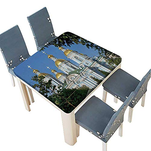 PINAFORE Table in Washable Polyeste St Nicholas Naval Cathedral,Baroque Orthodox Cathedral,Saint Petersburg,Russia Banquet Wedding Party Restaurant Tablecloth 29.5 x 29.5 INCH (Elastic Edge) ()