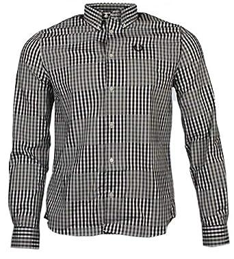 Fred Perry - Camisa Casual - para Hombre Negro/Blanco: Amazon.es ...