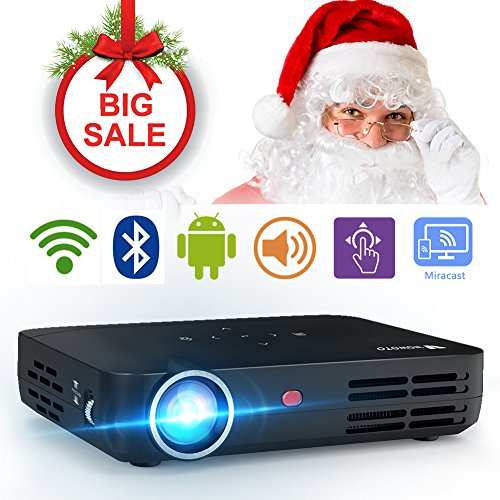WOWOTO H8 Video Projector DLP LED 1280x800 HD 3D Support 1080P Android System WiFi&Bluetooth Home Theater Portable Mini Cinema USB AV SD HDMI Game Multi-screen Sharing Touch Control Projectors Black by WOWOTO