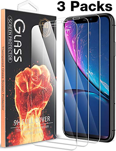 [3 Pack] for 6.1 Apple iPhone XR Screen Protector, [9H Hardness][Case Friendly] 0.3mm Clear Tempered Glass with Lifetime Replacement Warranty by Fnova