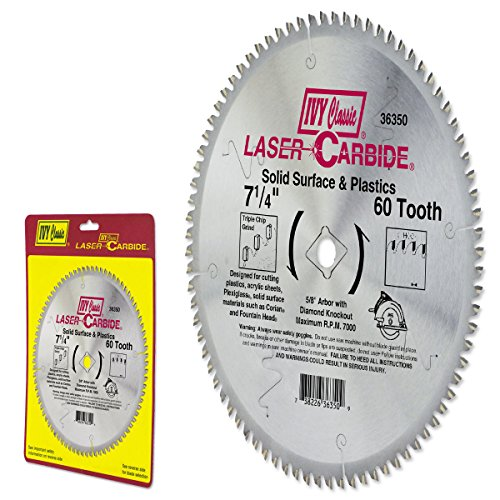 IVY Classic 36350 Laser Carbide 7-1/4-Inch 60 Tooth Solid Surface and Plastic Cutting Circular Saw Blade with 5/8-Inch Diamond Knockout Arbor, 1/Card