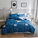 VClife Boys Bulldog Printed Bedding Sets-1 Duvet Cover and 2 Pillowcases, 100% Cotton, Reversible Blue Pattern Design, Children Adults Bedding Collections for All Season, Hypoallergenic, Soft, Queen
