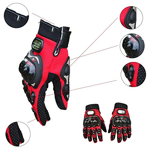 Carbon Fiber Motorcycle Motorbike Cycling Racing Full Finger Gloves (Red, L)