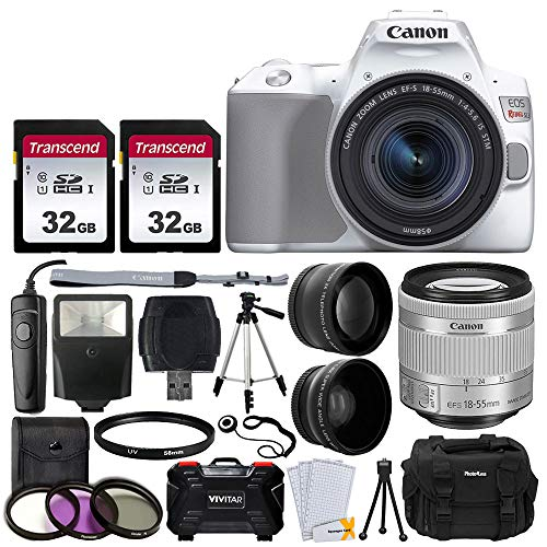 Canon EOS Rebel SL3 Digital SLR Camera (White) + EF-S 18-55mm f/4-5.6 IS STM Lens + 58mm 2X Professional Telephoto & 58mm Wide Angle Lens + 64GB Memory Card + DC59 Case + Tripod + Slave Flash + Remote