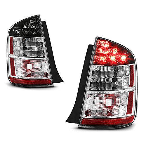 VIPMOTOZ For 2004-2009 Toyota Prius Chrome Bezel OE-Style Tail Light Housing Lamp Assembly Replacement Driver & Passenger - Jdm Lights Lamps Tail
