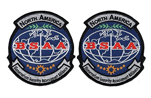 Bsaa Costume (Set of 2 BSAA North America Resident Evil Costume Cosplay Shoulder Patch HOOK)