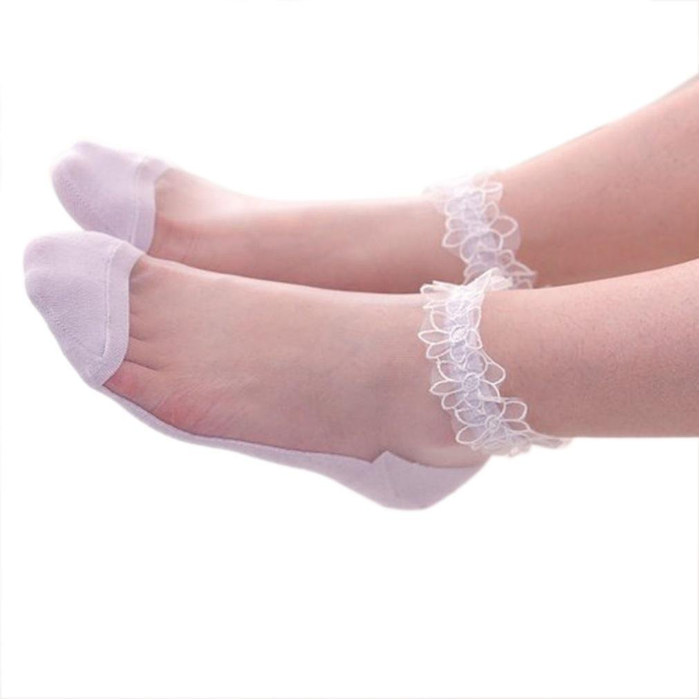 Lace Socks Women,Swyss Ultrathin Transparent Beautiful Crystal Lace Elastic Short Socks for Ladies Teen Girls (Black) (Purple)