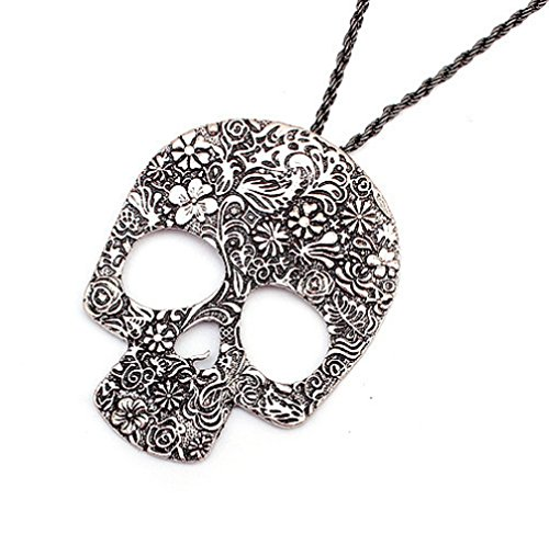 Leiothrix Vintage Carving Skull Necklace