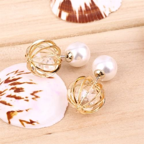 Alicenter(TM) Double Side Shining Pearl Earrings Women Hollow Ball Ear Stud Crystal Inside