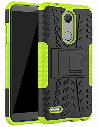 LG K30 Case, LG Phoenix Plus Case,LG Premier Pro LTE Case,LG K10 Alpha,LG K10 2018 Case, Yiakeng Dual Layer Shockproof Wallet Slim Protective with Kickstand Hard Phone Cover (Green)